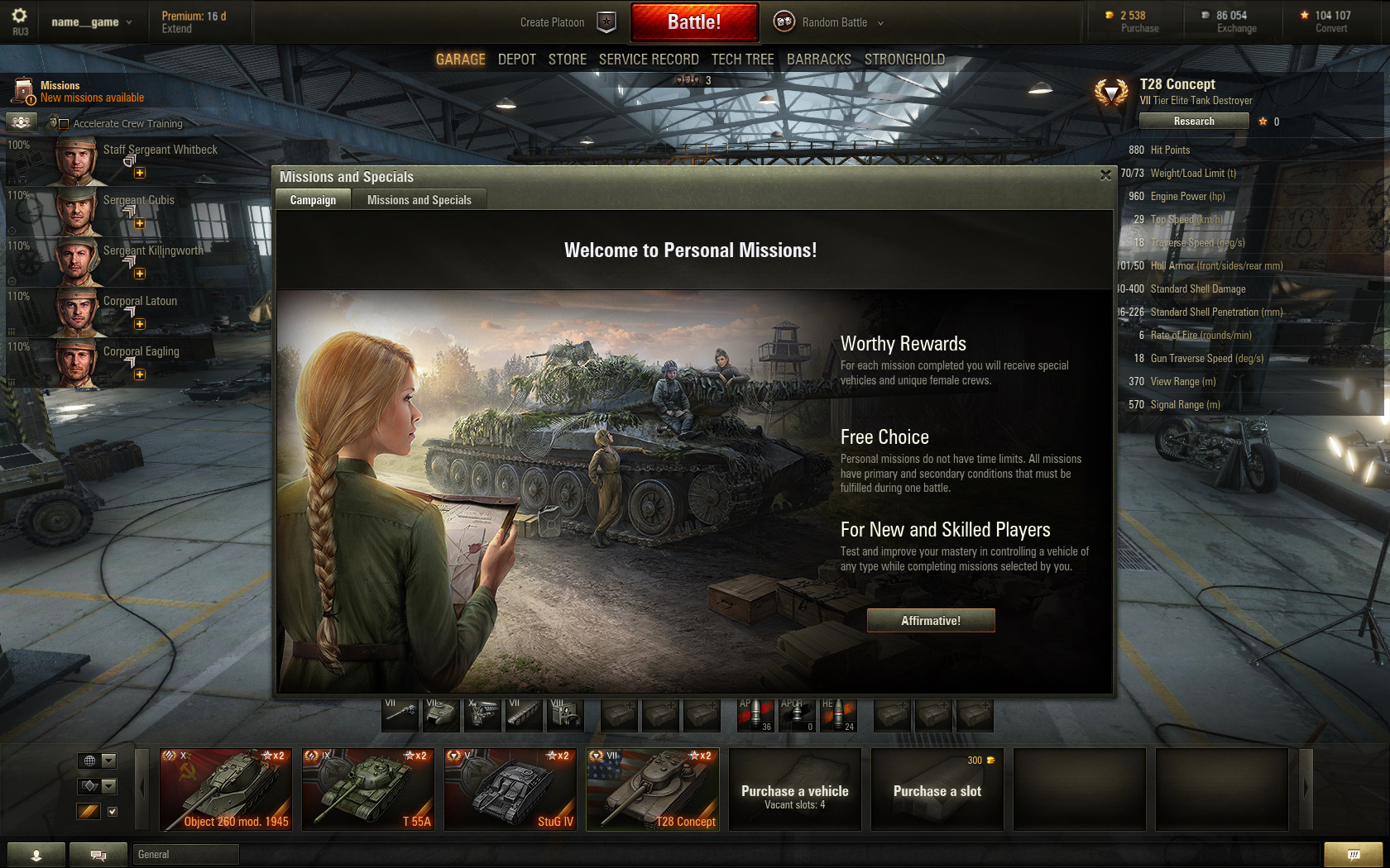 Personal Mission System Available For World of Tanks