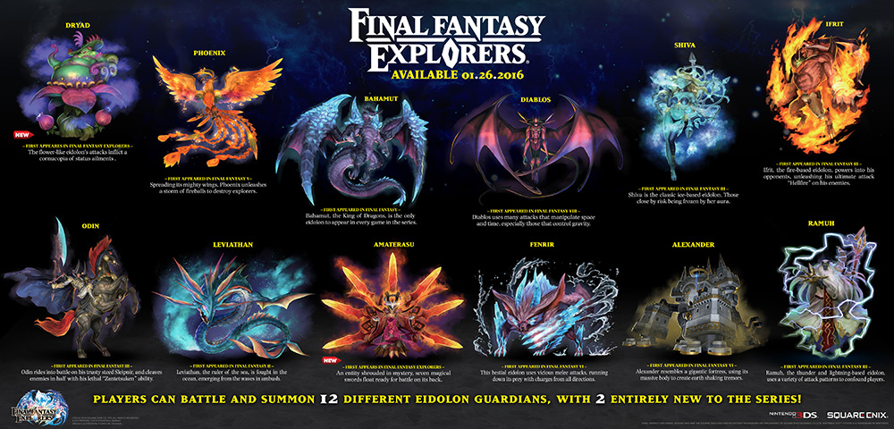 Final Fantasty Explorers To Feature 12 Summonable Eidolons