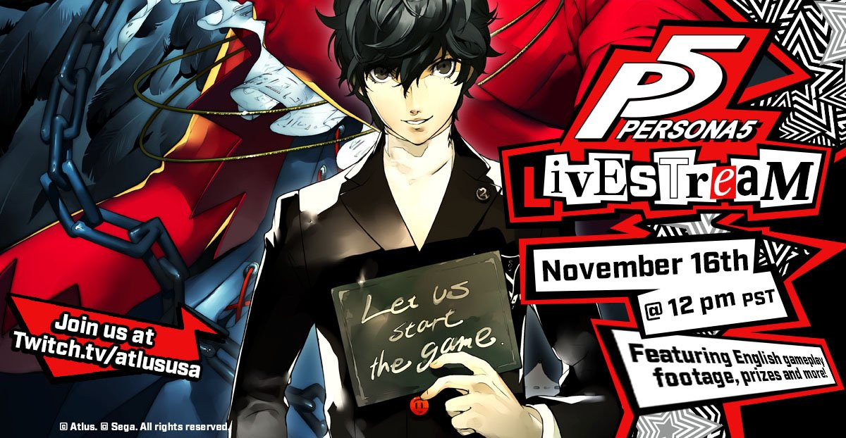 New Persona 5 Gameplay and Twitch Livestream Tonight